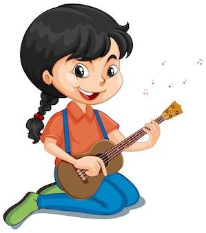 Girl playing guitar on white