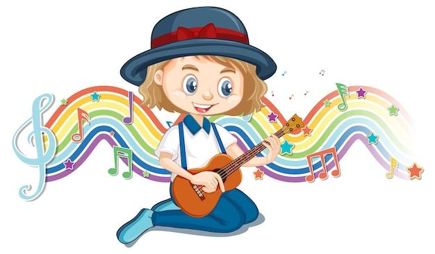 무지개 파도에 멜로디 기호로 기타를 연주하는 소녀
