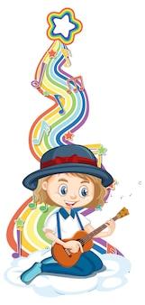 Девушка играет на гитаре с символами мелодии на радужной волне