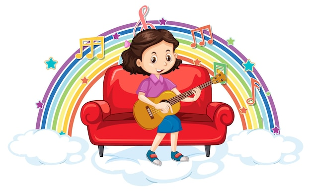 무지개에 멜로디 기호로 기타를 연주하는 소녀