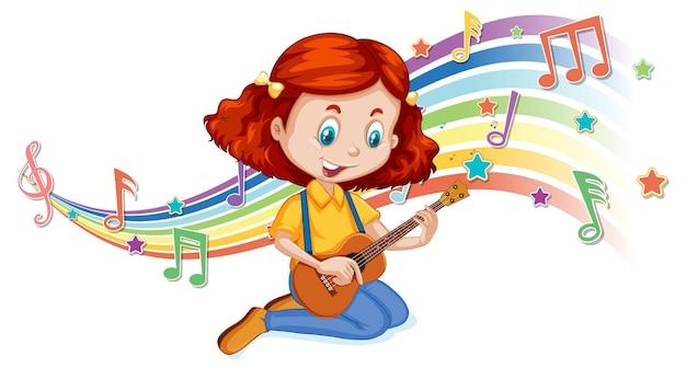 Ragazza che suona la chitarra con i simboli della melodia sull'onda arcobaleno