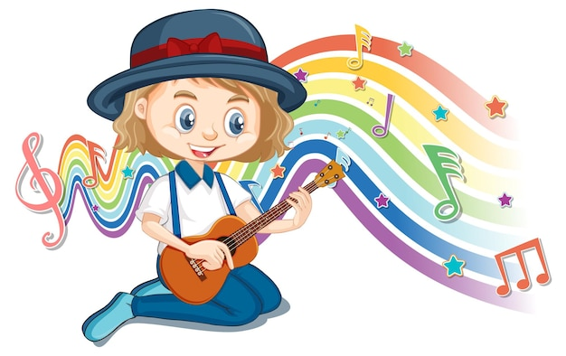 Girl playing guitar with melody symbols on rainbow wave