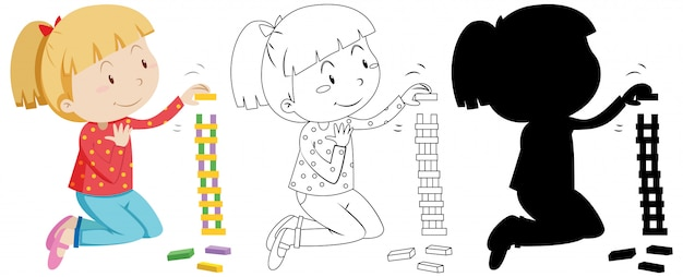 Girl playing jenga in colour and outline and silhouette