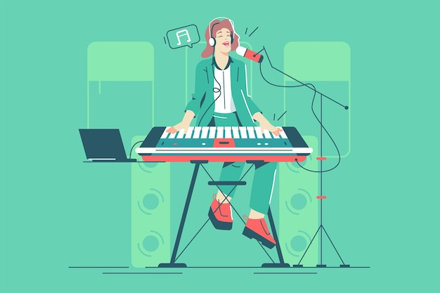 Girl playing piano and singing vector illustration. piano performance on public flat style. singer and pianist character. music, hobby and art concept. isolated on green background