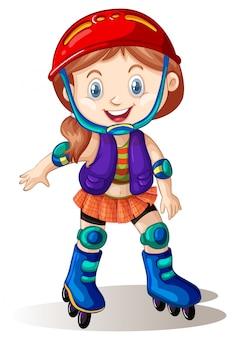 A girl playing roller skate