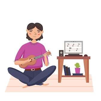 우쿨렐레를 연주하는 소녀. 작은 하와이 악기. 집에서 온라인으로 음악을 가르칩니다. 현대 벡터 평면 그림