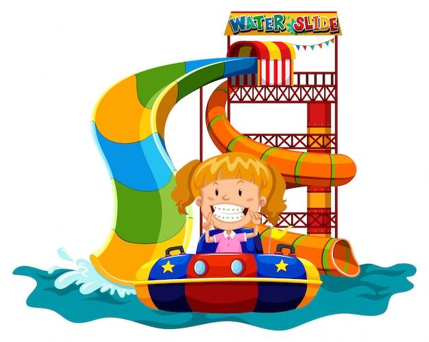 Girl playing on water slide