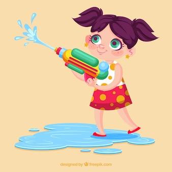 カラフルな水銃で遊ぶ女の子