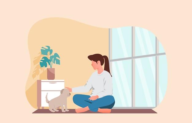 그녀의 애완 동물을 가지고 노는 소녀. 집 벡터 일러스트 레이 션에 머물