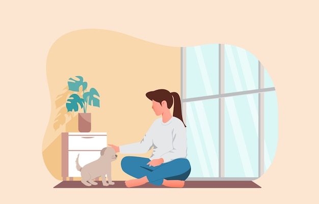 Girl playing with her pet. stay at home vector illustration