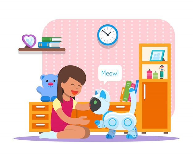 집 고양이 로봇을 가지고 노는 소녀. 로봇 공학 기술 개념 그림