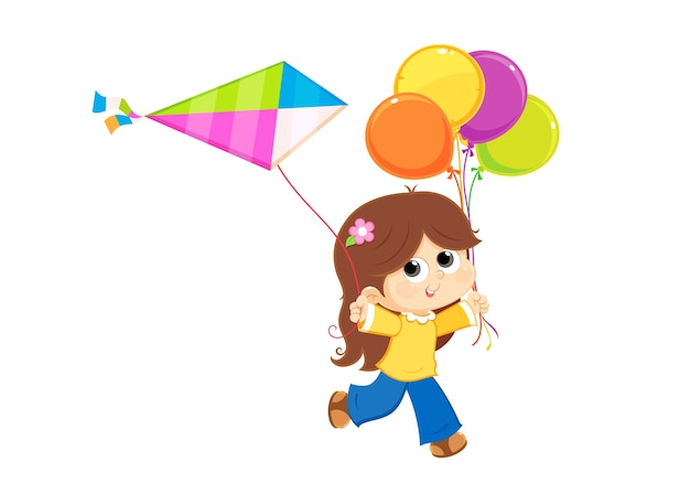 Girl playing with a kite and balloons