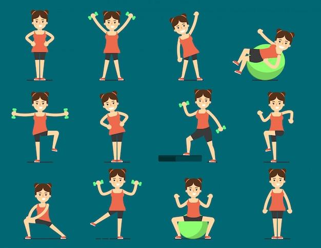 여자는 스포츠를 재생합니다. 아름다운 몸. 운동 설정
