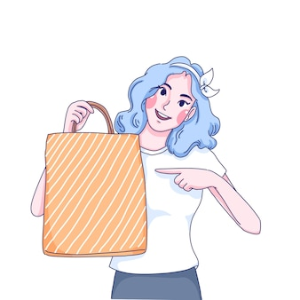 Girl point to bag cartoon illustration.