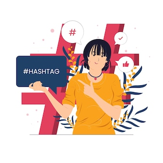 Девушка указывает на хэштег как иллюстрацию концепции влиятельного лица социальных сетей