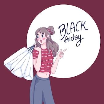 Girl pointing to black friday lettering illustration