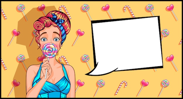 Girl in pop art style with a lollipop.