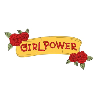Girl power banner with flowers vector