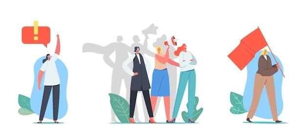 ガールパワーコンセプト。女性の権利のデモンストレーションに関する女性キャラクター。旗と拡声器を持つ若い女の子。フェミニズムとフェミニン、エンパワーメントのアイデア、一体感。漫画の人々のベクトル図