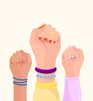 Girl power concept. female fist up.