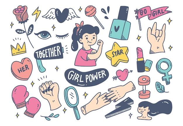 Концепция силы девушки в стиле каракули
