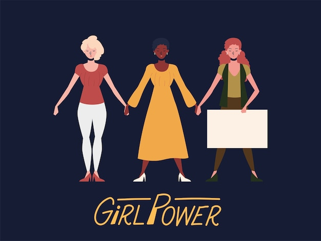 Girl power, diverse group women with board