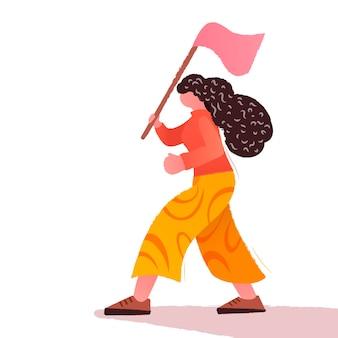 女の子のパワー。フェミニズムの概念。カラフルなベクトルイラスト。