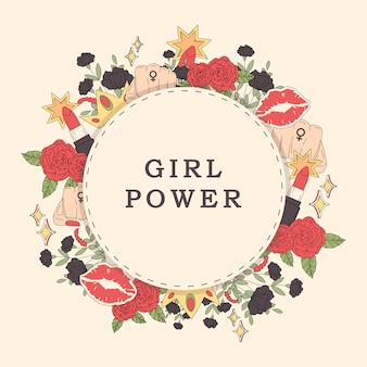 Girl power flower frame vector