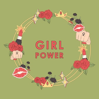 Girl power flower frame