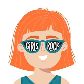 소녀 전원 손으로 그린 벡터 일러스트 레이 션. 영감을 주는 슬로건 소녀가 있는 선글라스를 쓴 여성이 지배합니다. 티셔츠, 포스터, 인쇄에 대한 페미니스트 개념.
