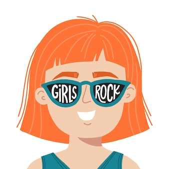 Girl power hand drawn vector illustration. woman in sunglasses with inspirational slogan girls rule. feminist concept for t shirt, poster, print.