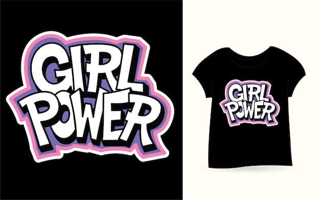 Girl power hand lettering for t shirt