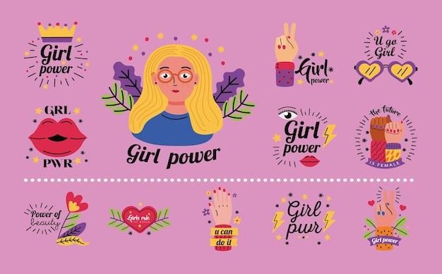 여성 권한 부여 여성 페미니즘과 권리 테마 일러스트의 소녀 파워 아이콘 컬렉션 디자인