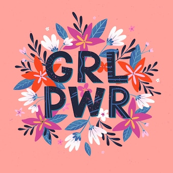 Girl power illustration, stylish print for t shirts, posters, cards and prints with flowers and floral element
