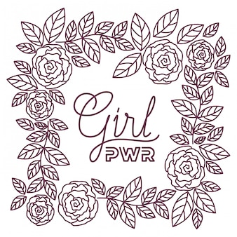 Girl power label with roses frame icons