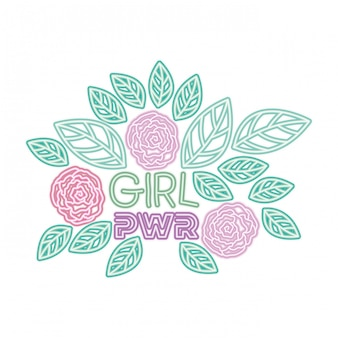 Girl power label with roses isolated icon