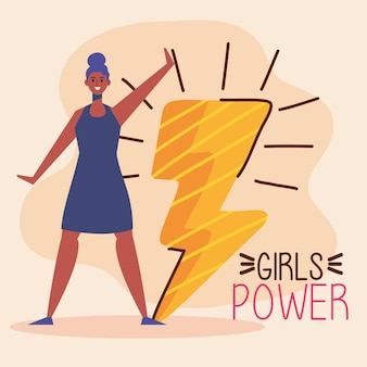 Girl power lettering with afro woman and thunder ray  illustration