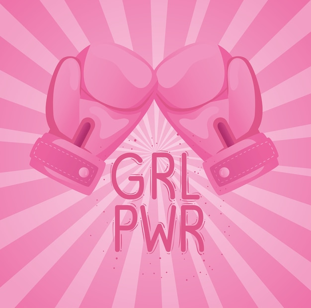 Girl power lettering with boxing gloves design Premium Vector