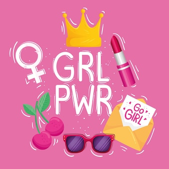 Girl power lettering with crown and set icons design