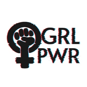Girl power lettering with glitch effect Premium Vector