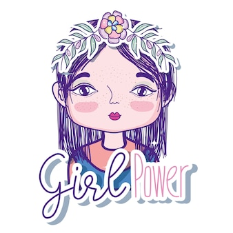 Girl power message with cute woman cartoon