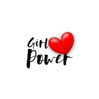 女の子の力の動機付けのテキストバレンタインデーの愛の手書きのレタリングのための現実的な3d赤いハート