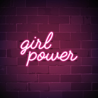 Girl power neon sign vector