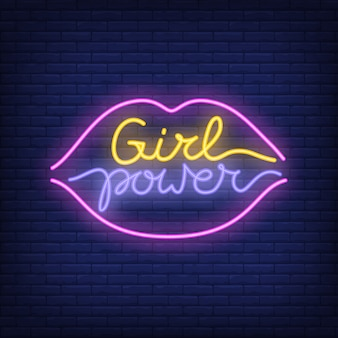 Girl power neon text in lips outline logo. neon sign, night bright advertisement