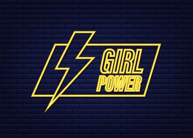Сила девушки на белой предпосылке. неоновая иконка. символ сильной руки. мотивационный плакат. векторная иллюстрация штока.