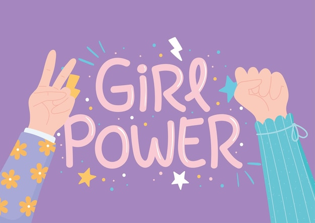 Girl power raised hands female, womens day celebration  illustration