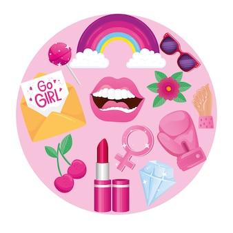 Girl power set icons around design