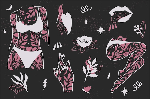 Girl power set icons fashion symbol with female tattooed hands