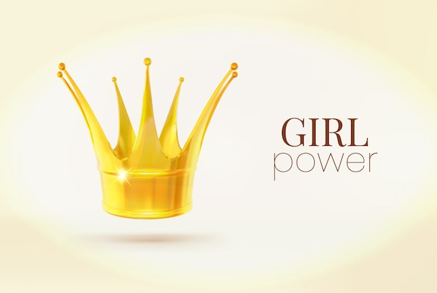 Girl power sign. realistic gold crown