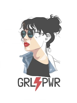 Girl power slogan with girl in sunglasses half color half outline illustration